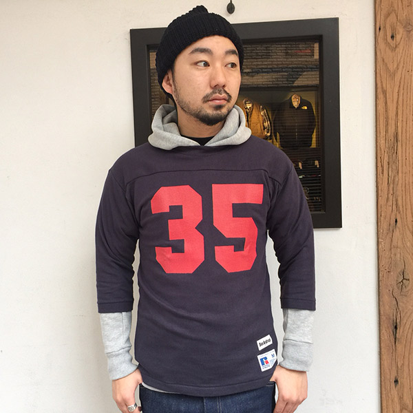 【RUSSELL ATHLETIC x BACKDROP】(バックドロップ別注) FOOTBALL TEE (ダークネイビー)