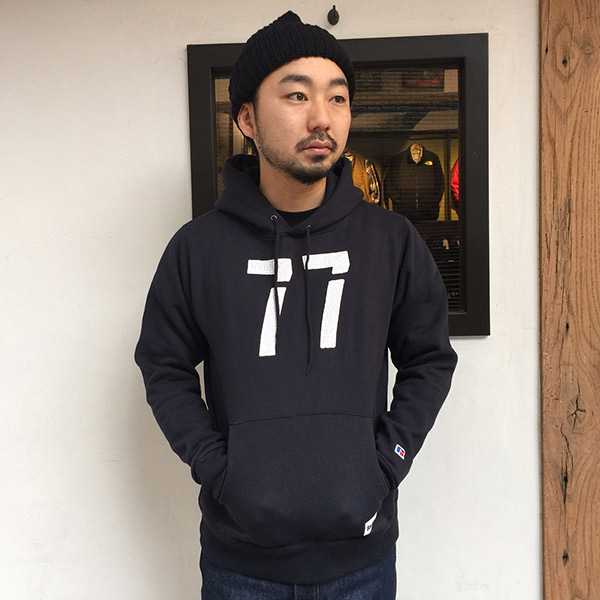 【RUSSELL ATHLETIC x BACKDROP】(バックドロップ別注) PULLOVER HOODIE (ダークネイビー)
