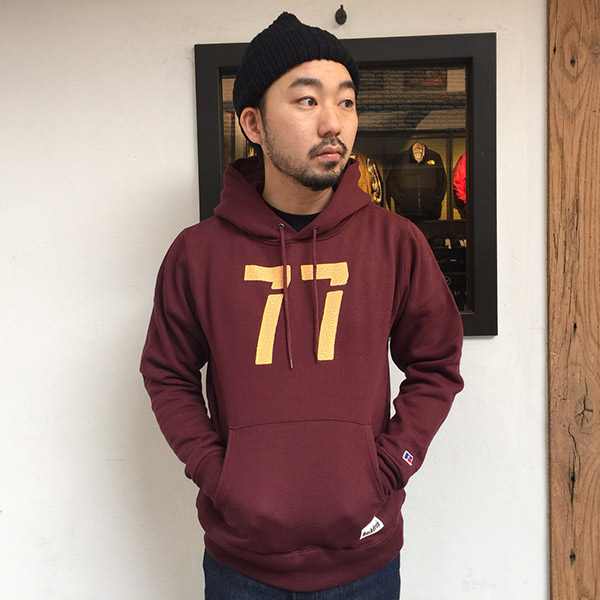 【RUSSELL ATHLETIC x BACKDROP】(バックドロップ別注) PULLOVER HOODIE (マローン)